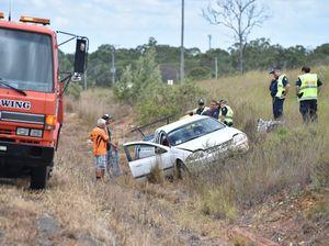 Nikenbah crash: Car drives into ditch