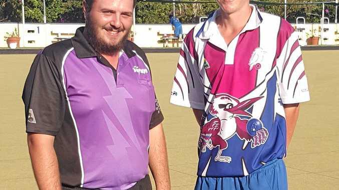 2016 Musgrave Hill  Easter Open Singles winner Kurt Brown and runner-up Dale McWhinney-Shillington.