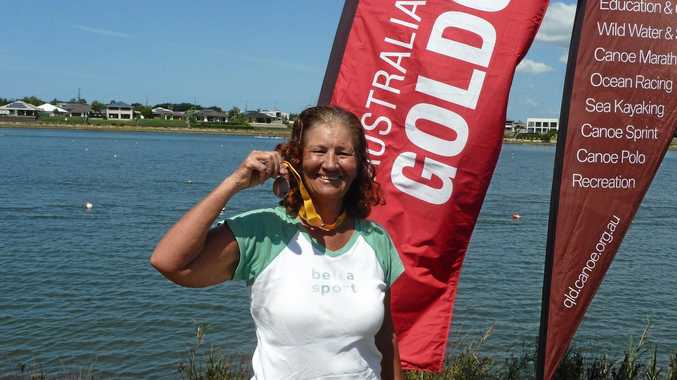 RIGHT PLACE: Lismore paddler Marion Brownlie won a silver medal at the Aust- ralian National Canoe Marathon on the Gold Coast.