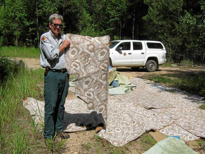 CLEAN UP: Authorities found Illegal waste dumped at Bongil Bongil National Park in February.