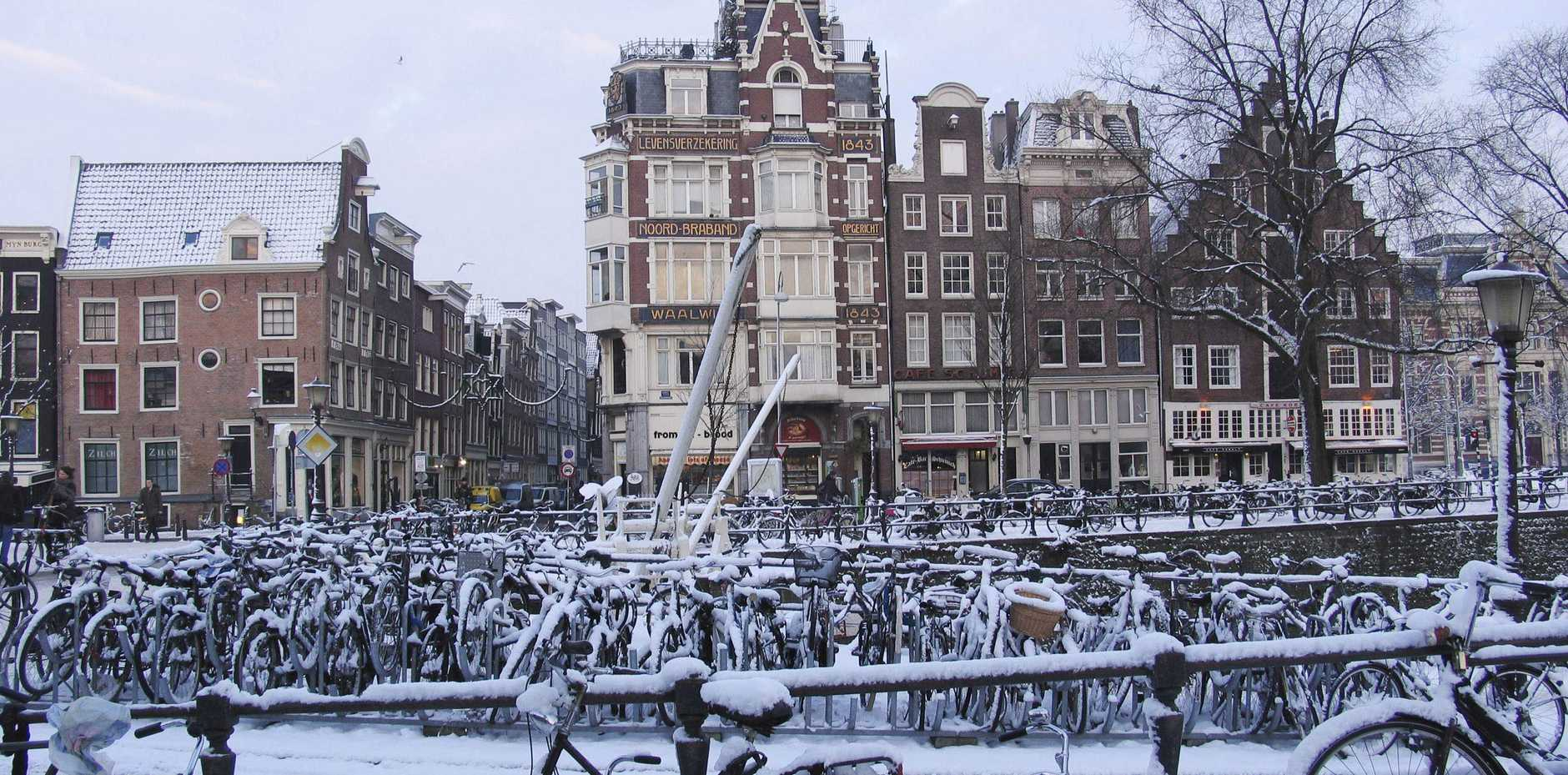 Amsterdam is both the most bicycle-friendly capital city in the world, even in winter cycling is popular in the city.