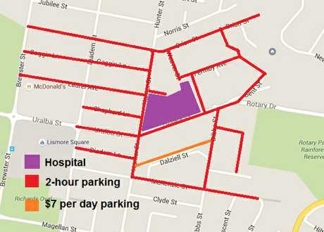 NO-GO ZONES: Map indicates 2-hour limit parking, where staff can no longer park.