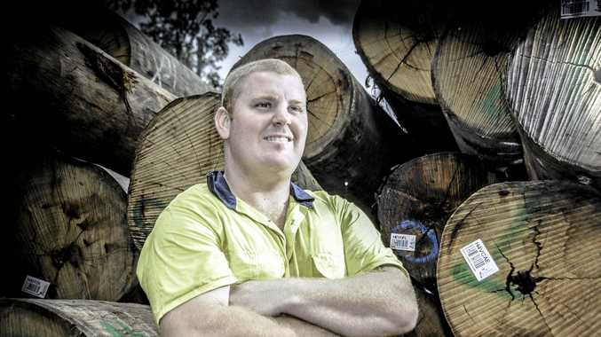 GOT WOOD? Redmen flanker Jacob Page, at his sawmill, is ready for the 2016 Mid North Coast rugby union season.