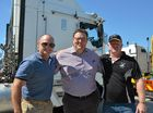 Kerrod Walters, Senator Glenn Lazarus and Rodney Chant at the anti RSRT order protest convoy at BP Archerfield April 3.