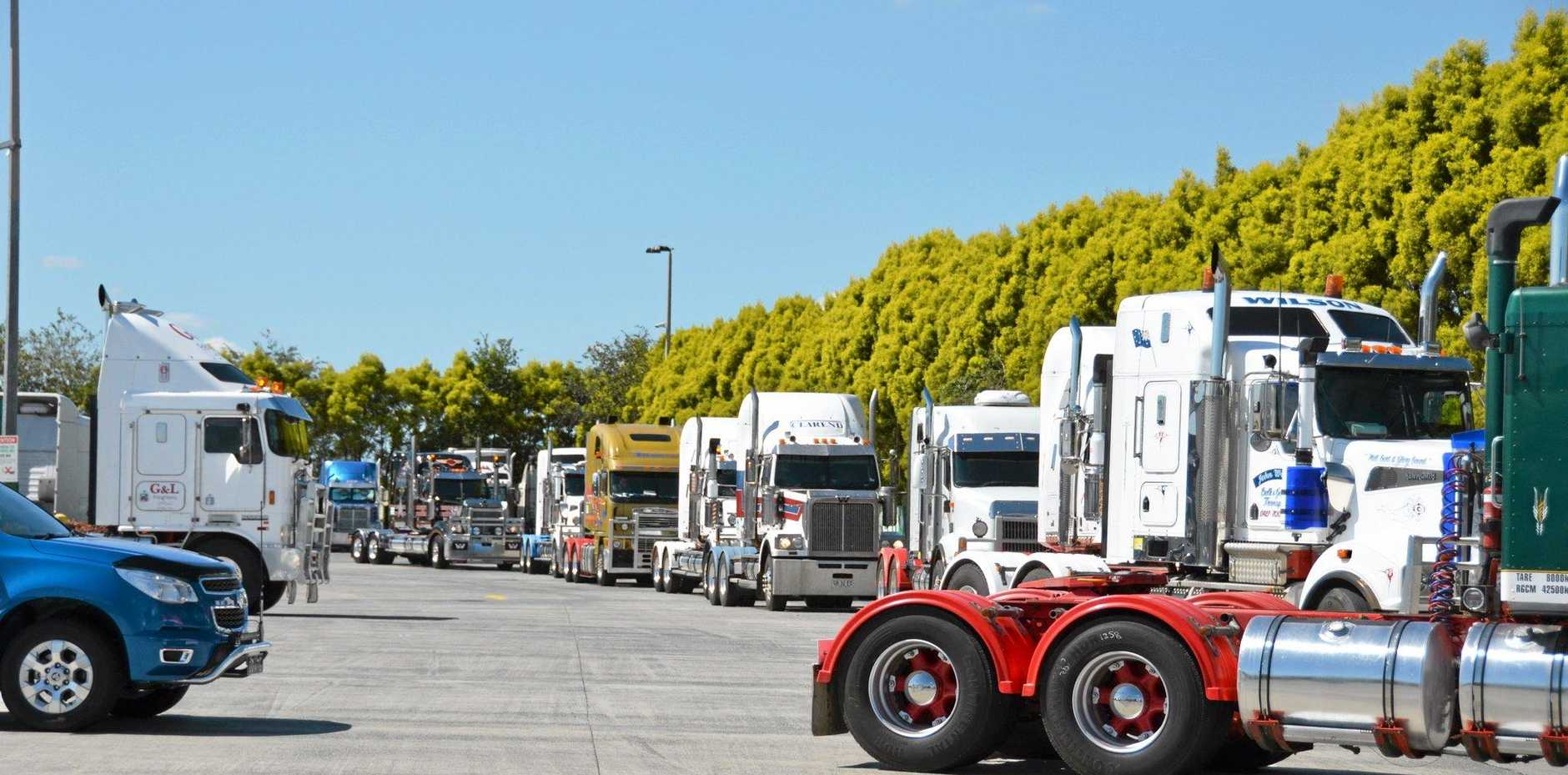 Trucks head out of BP Archerfield for the Anti-Rsrt order protest convoy, BP Archerfield April 3.