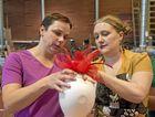 Brenda Rangott (left) takes advice from fascinator extraordinaire Johanna Guerin at Cobb and Co Museum.