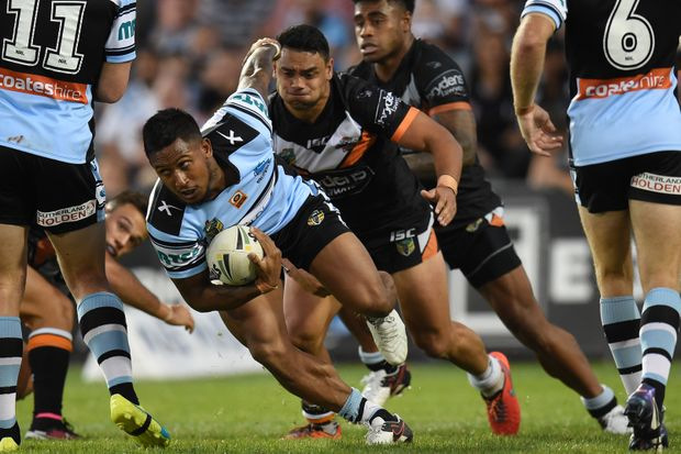 Action from the Wests Tigers v Sharks match at the weekend. Photo: AAP Image.