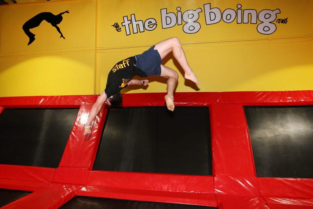FLIPPING GOOD FUN: Raymond Elliott, 16, shows off some tricks at the Big Boing Indoor Trampoline Park.
