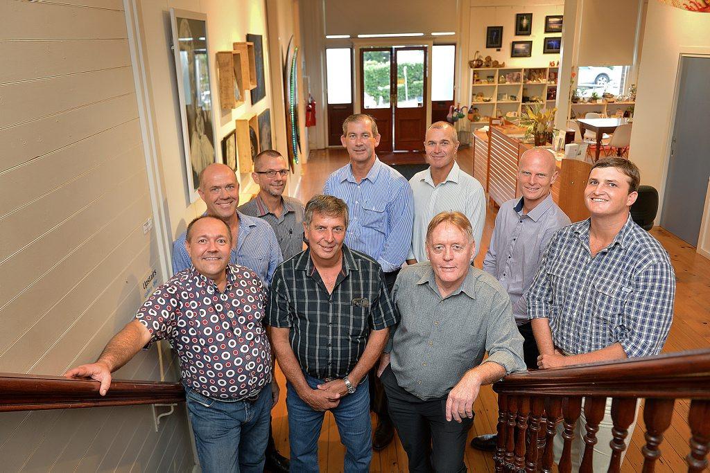 Gympie regional councillors Daryl Dodt, Mal Gear, Dan Stewart, Mayor Mick Curran, Bob Leitch, Glen Hartwig, James Cochrane, Mark McDonald and Hilary Smerdon.