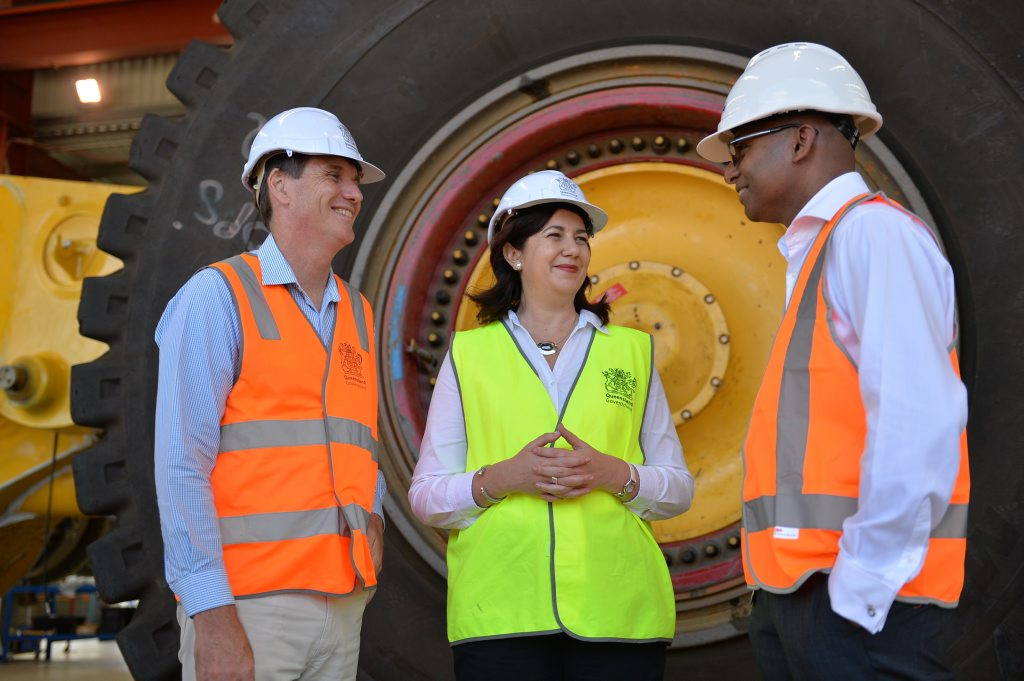 Mines Minister Anthony Lynham, Premier Annastacia Palaszczuk and Adani's Jeyakumar Janakaraj. Photo Chris Lees / Daily Mercury