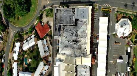 RAVAGED: An aerial view of the Whitsunday Shopping Centre after the Target Country part of the complex was gutted by fire last night. Photo thanks to HELITAXI.com