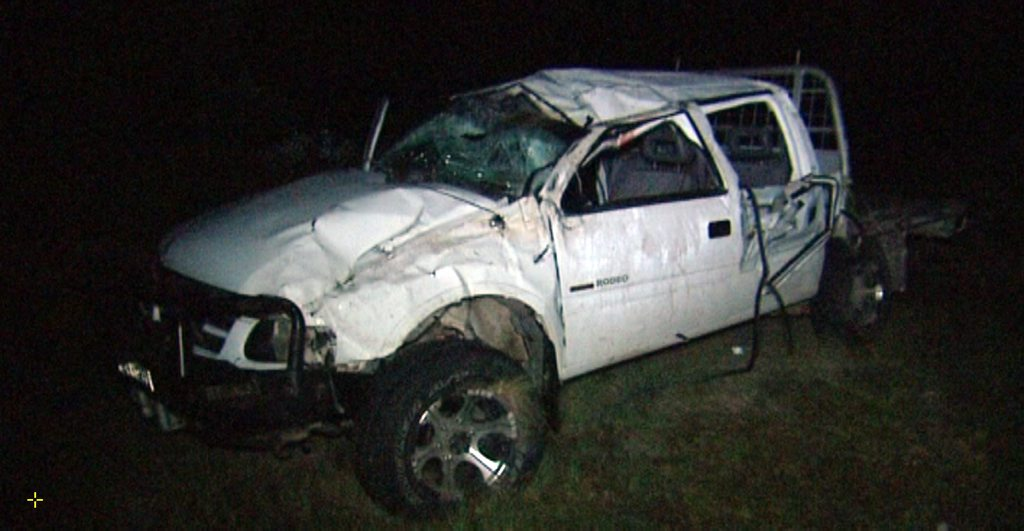 Two men, from Tenterfield died when thrown from this ute in a crash in Glen Aplin. Photo: 7 Local News Toowoomba.
