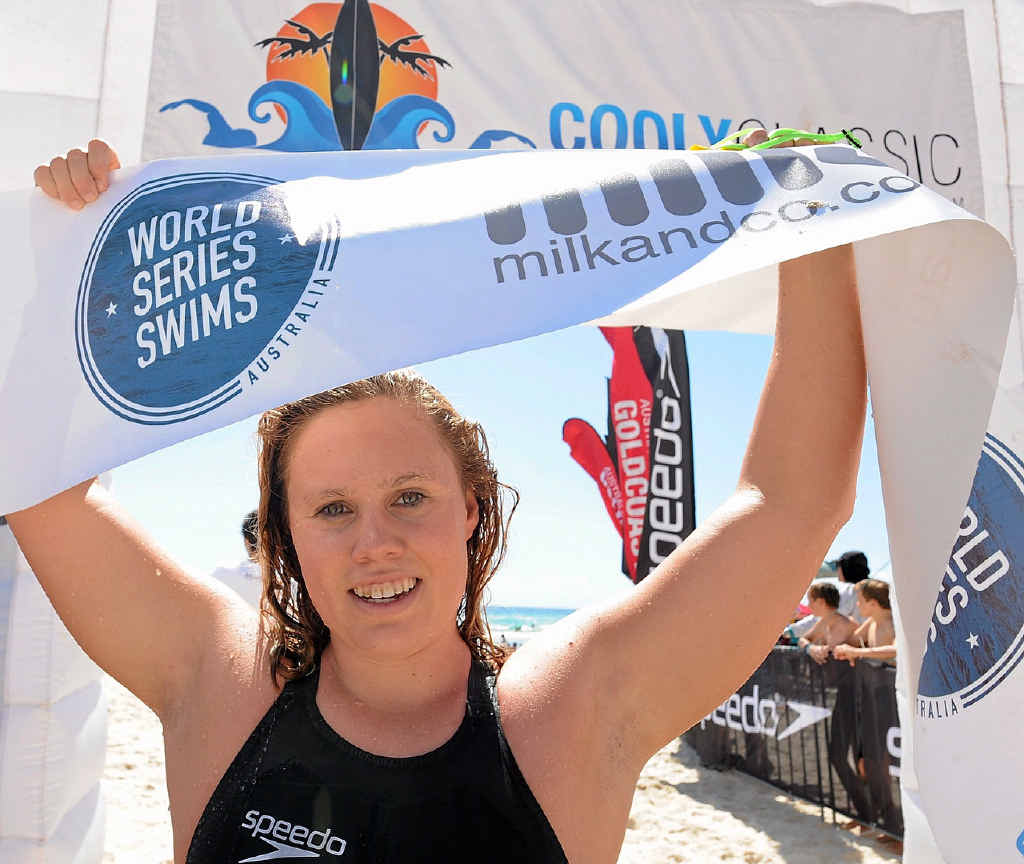 CLAIMING COOLY: Chelsea Gubecka takes victory at the 2016 Cooly Classic Ocean Swim.