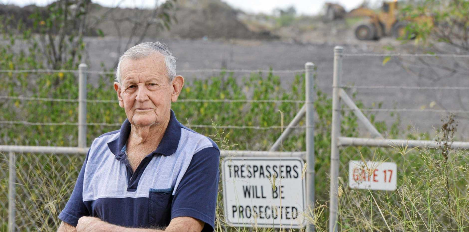 Swanbank resident Joe Llewellyn is angry about the odour that comes from the local industry surrounding his home.