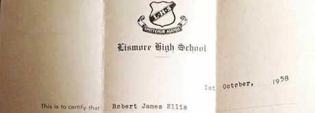 The 1958 leaving certificate of Robert James