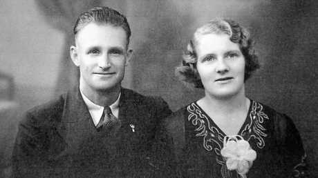 Marjorie and Charles Bostock on their wedding day.