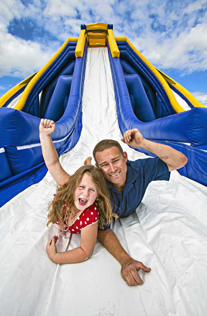 Water slide fun of the inflatable kind is set to be part of the Jetty Beach scene these school holidays.