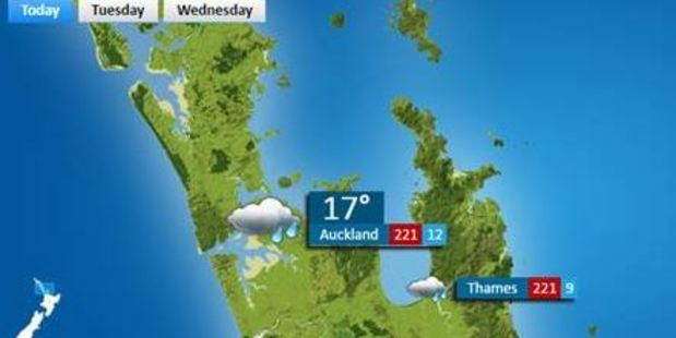 The forecast showed that Auckland would reach a staggering 221 degrees Celsius.