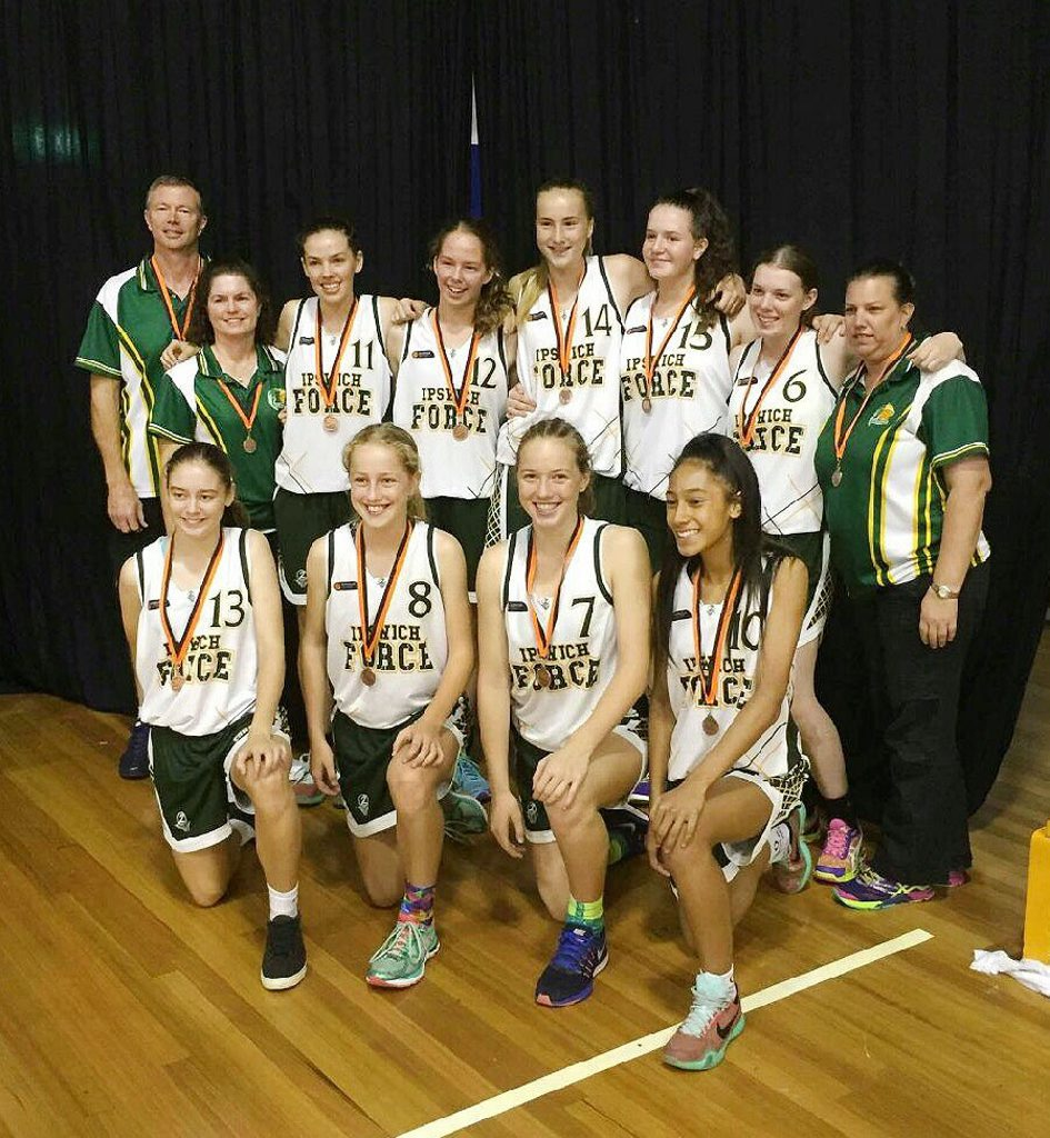 The Ipswich Force under-16 basketball girls basketball team that won a bronze medal at the state titles. Photo: Contributed