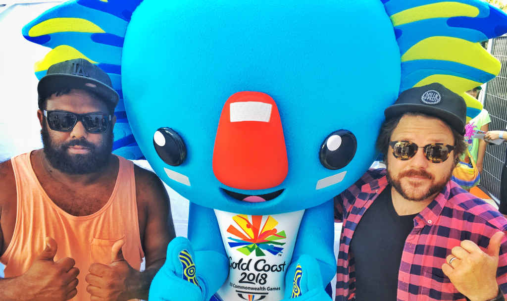 WINNING HIT: Jeremy Marou, Borobi the Koala and Tom Busby at the launch of the theme song, Days of Gold, and the 2018 Gold Coast Commonwealth Games mascot.