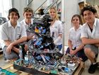 Coffs Harbour High School students, Tyler Redshaw, Alex Accadia, Stephanie Baldwin, Janaya Butler and Thomas Cluff with the winner of the Park Beach Plaza Recycling Sculture competition.