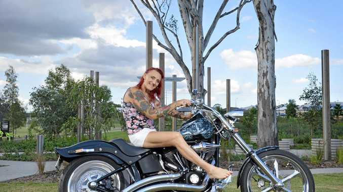 NEW LIFE: Transgender female Mandy Leigh Jones on her beloved Harley..