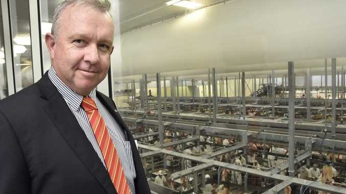 Oakey Beef Exports general manager Pat Gleeson overlooks the boning room. Oakey Abattoir opening of Bio-Gas plant Photo Bev Lacey / The Chronicle
