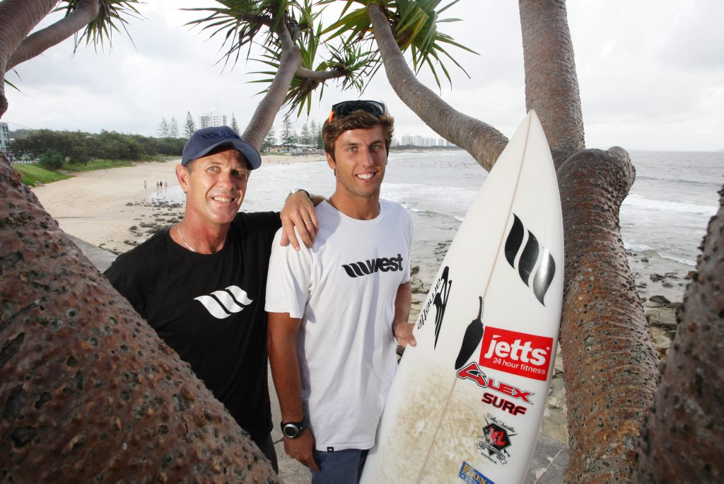 Robbie Sherwell with his son, Josh Sherwell. Josh is about to start his Pro Junior Surfing career. Photo: Cade Mooney Sunshine Coast Daily