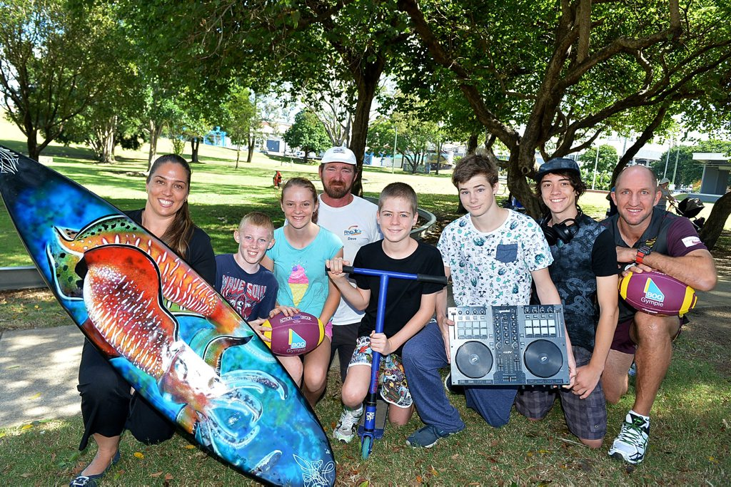 Kim Collins, Trysten and Chloe Devine, Dave Palmer, Anikin Jones, Zac Zmith, Keegan Foster and Darren Burns are excited for National Youth Week events. Photo Renee Albrecht/Gympie Times