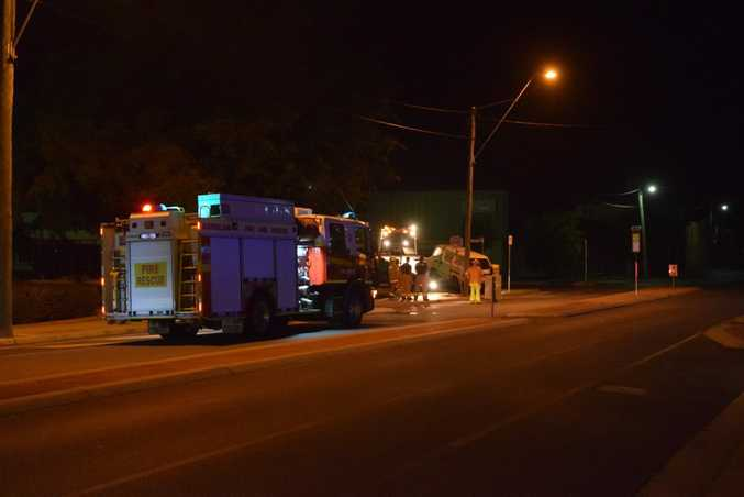 A van has crashed into a power pole on Upper Dawson Rd just outside of the Allenstown Hotel