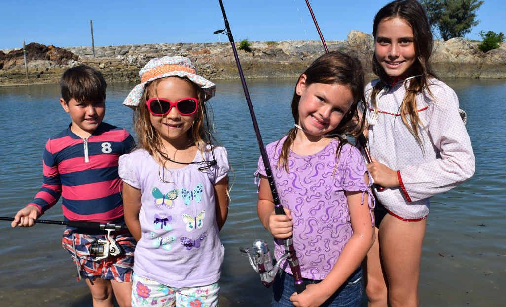 Yeppoon locals Roman Willson, 9, Audrey Hearn, 6, Sarah Scantlebury, 7, and Sophia Willson, 11, at Ross Creek enjoy some fishing.