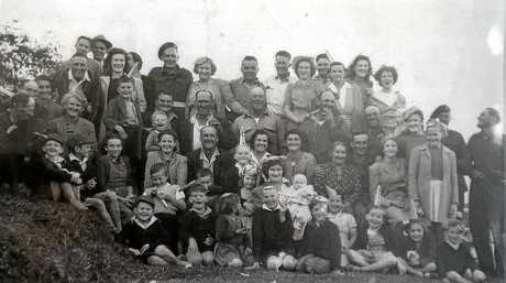 The Boyds, Greens and Adams family pictured in 1944.