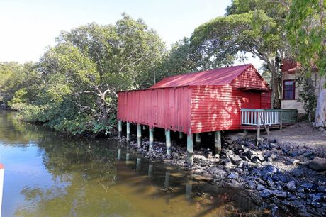 The red shed at the Tweed Historical Society.