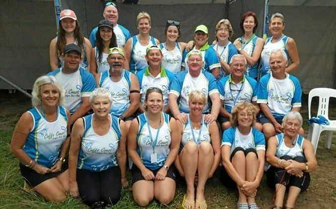 Coffs Coast Dragon Boat Club paddlers prepare to compete in Adelaide.