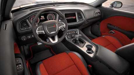 Inside the Dodge Challenger.