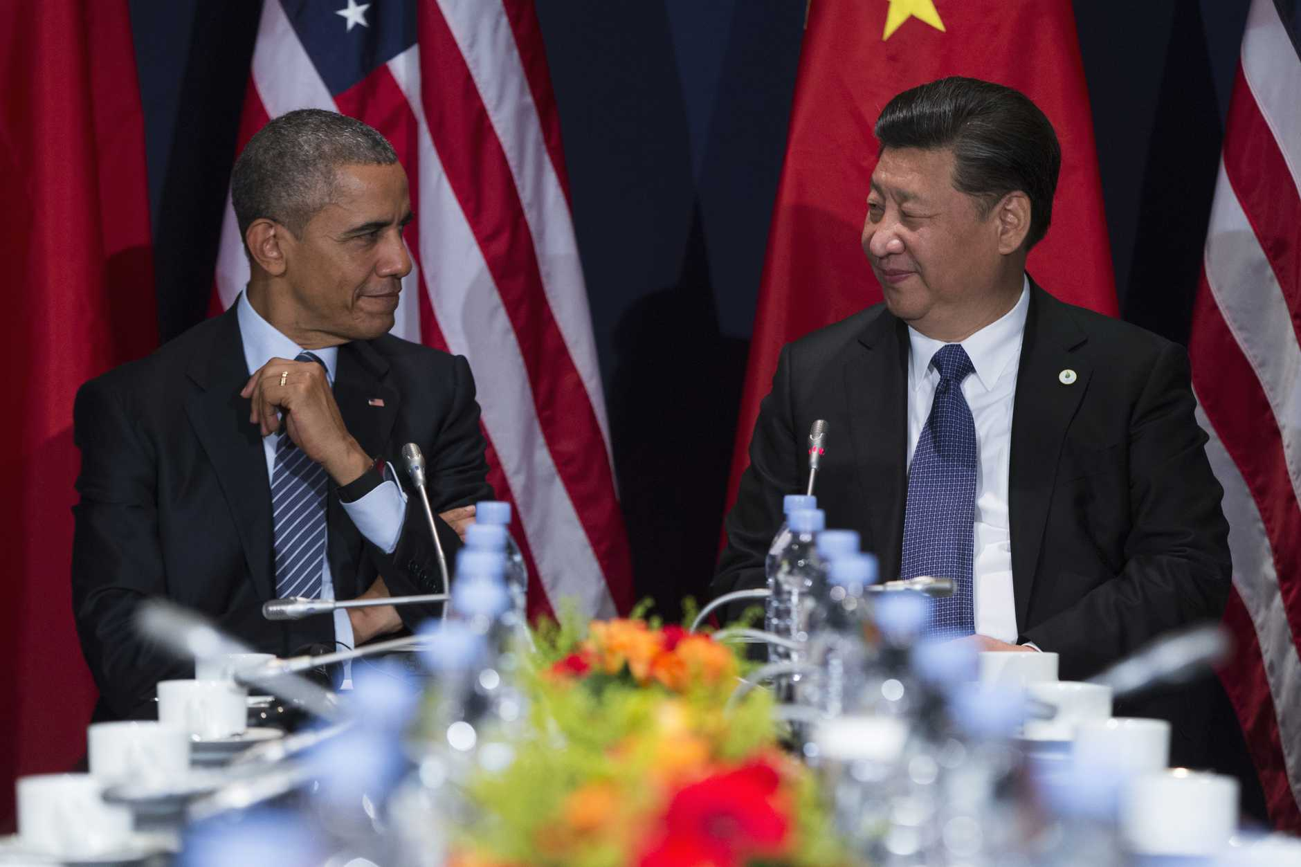 "US President Barack Obama and Chinese President Xi Jinping at a recent meeting. Mr Obama said both countries were ""committed to the (denuclearisation) of the Korean Peninsula""."