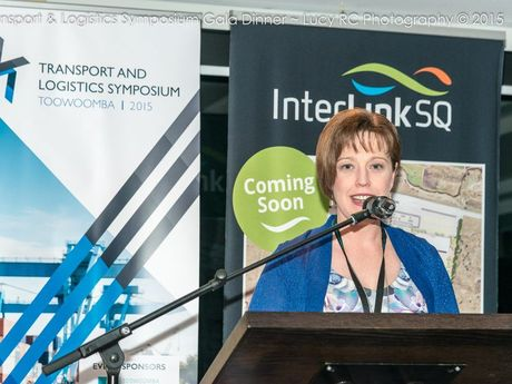 Freight Terminals CEO Michelle Reynolds addresses guests at the Transport and Logistics Symposium Gala Dinner.