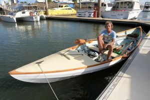 LOOKING FOR ADVENTURE: Tom Robinson rowed from Tin Can Bay to Bundaberg in his eighteen foot dory. Photo: Mike Knott / NewsMail