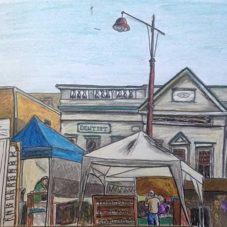 Damien Johnson's sketch of the Margaret St markets.