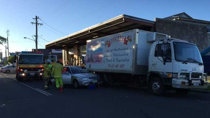 A car has crashed into a parked truck on Ellena St in Maryborough.