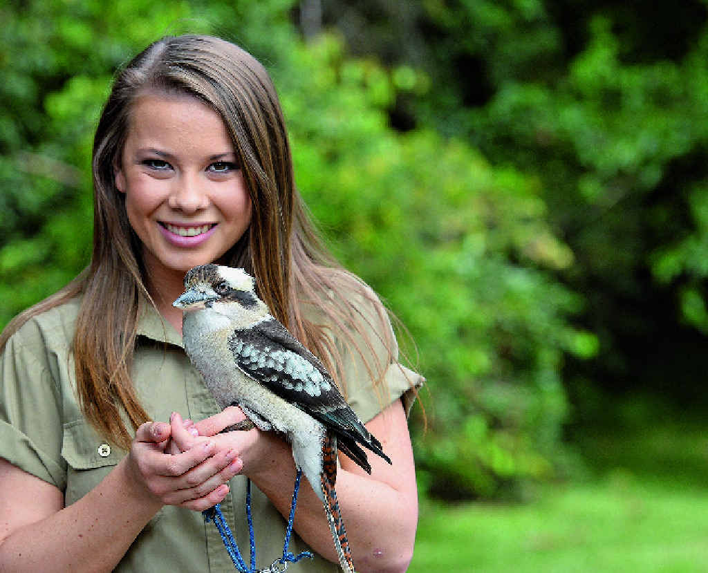 "Bindi Irwin with a kookaburra ... ""ever since I was little I have loved the sky and wished I could fly."""