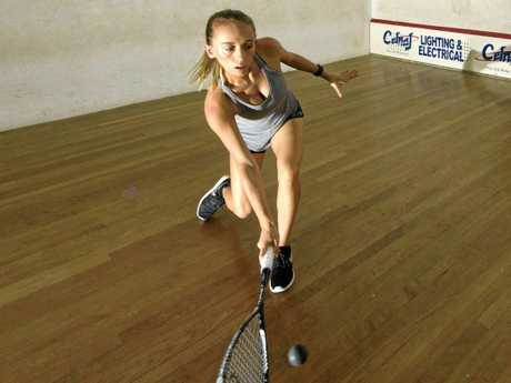 Moana Gray has a hit on her home court in Grafton before going overseas as a professional squash player.