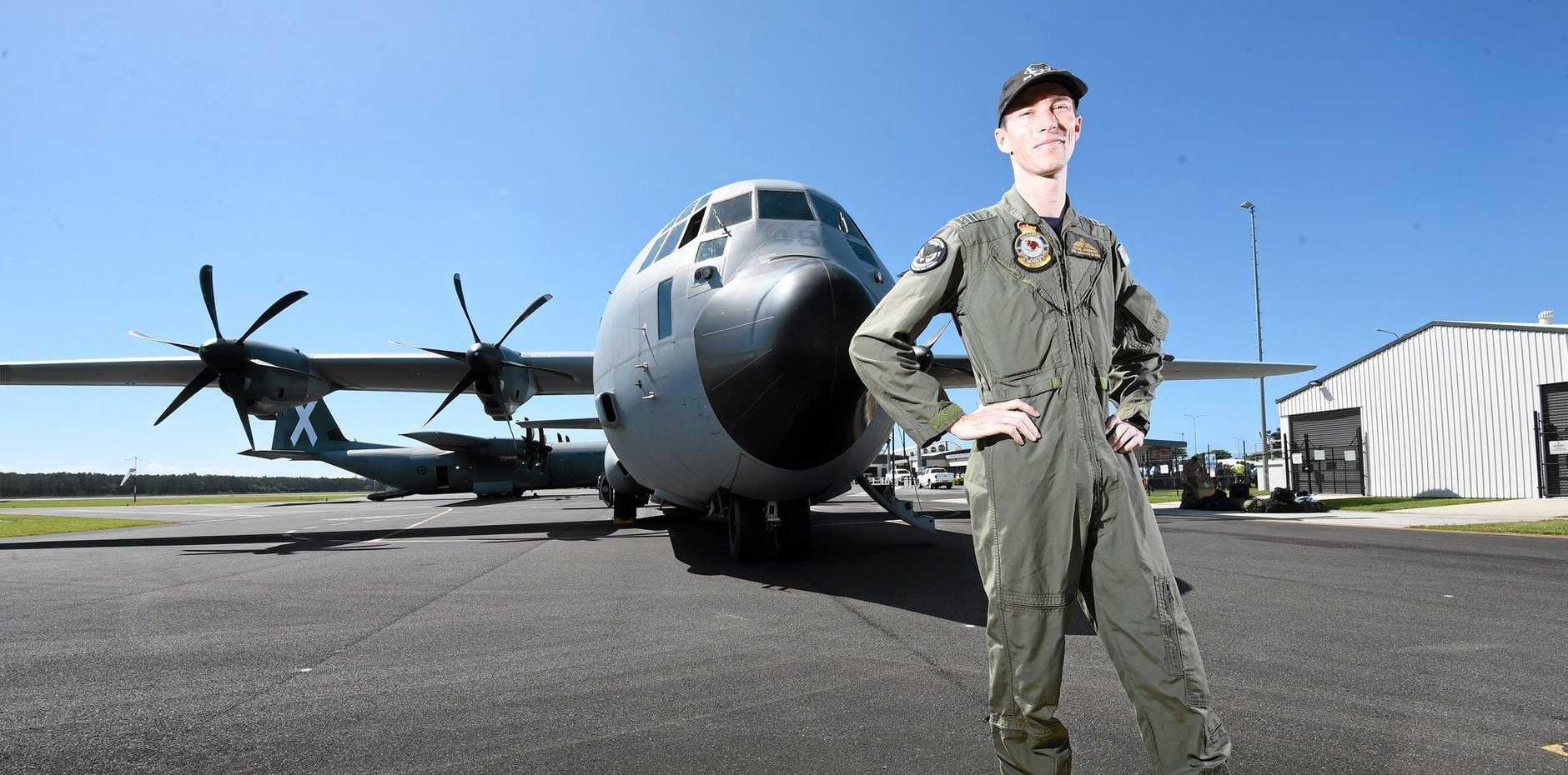 Flight Lieutenant Steve Andrews shows Australian Air Force Cadets the C130J Hercules at the Ballina Airport. Photo Marc Stapelberg / The Northern Star