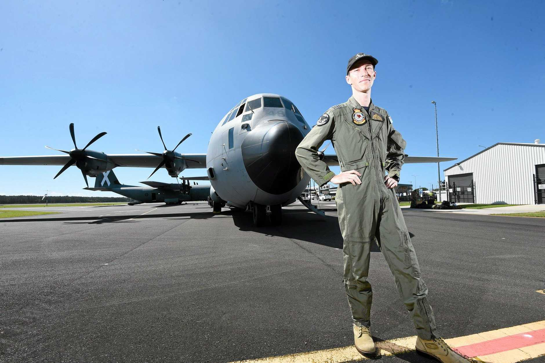 Flight Lieutenant Steve Andrews shows Australian Air Force Cadets the C130J Hercules at the Ballina Airport. Photo Marc Stapelberg / The Northern Star