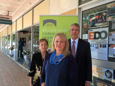 Federal Labor candidate for Page Janelle Saffin, Northern Rivers Community Legal Centre Acting Manager Fia Norton and Shadow Attorney General Mark Dreyfus in Lismore