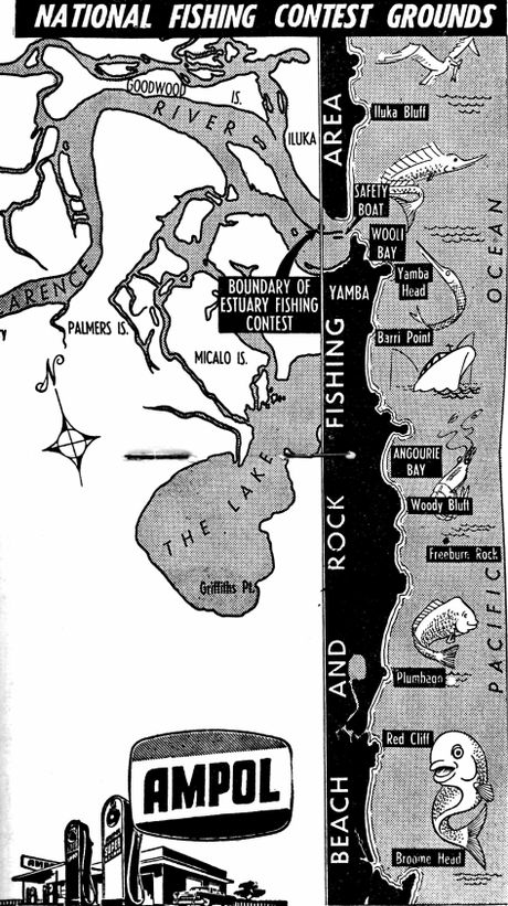 The map of fishing spots allowed in the original Tim the Bream competition in 1958. Photo Tim Howard / Daily Examiner
