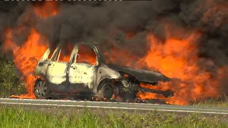 Car bursts into flames on Bruce Hwy Image: 9News