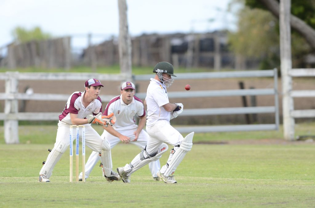 Westlawn captain Pat Vidler pads away in the Clarence River Cricket Association GDSC Premier League match between Brothers and Westlawn at Ulmarra Showground on Saturday, 24th of October, 2015. Photo Bill North / Daily Examiner