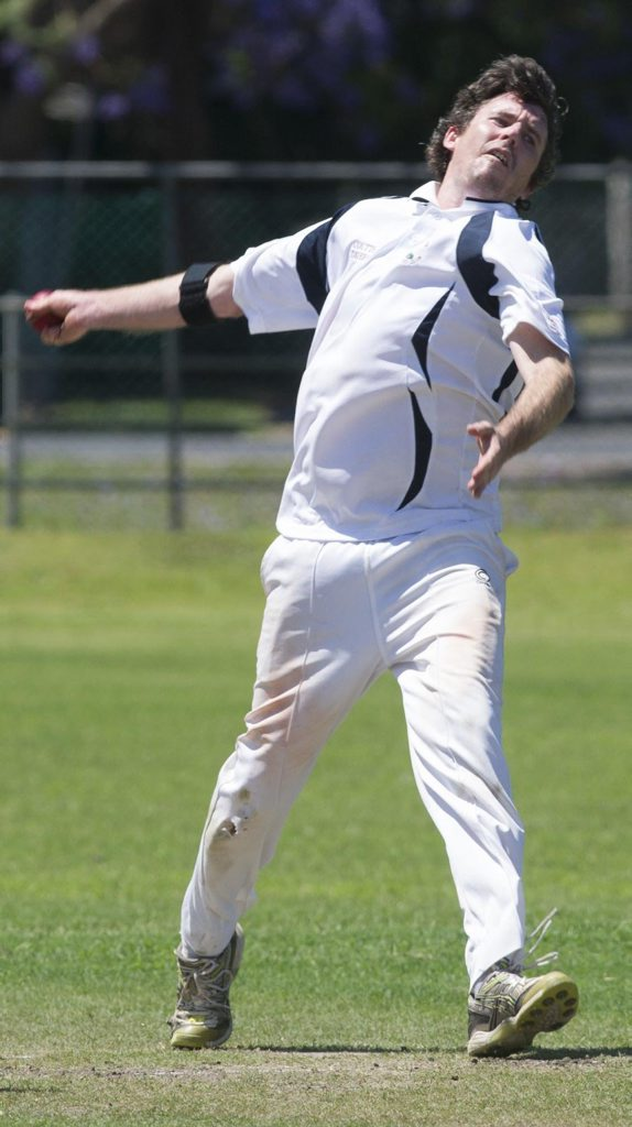 Coutts bowler Zac Page during the CRCA premier league cricket match between Coutts Crossing and Brothers at McKittrick Park on Saturday. Photo Debrah Novak / The Daily Examiner
