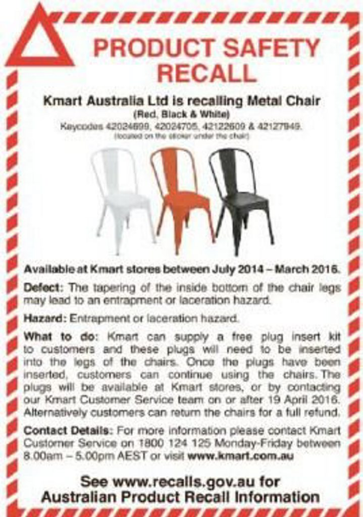 Product recall of metal chairs at Kmart. Photo Contributed